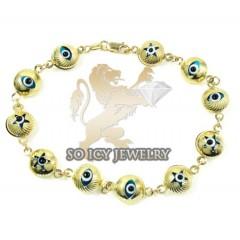 10k Yellow Gold Evil Eye Bracelet 7.25inch