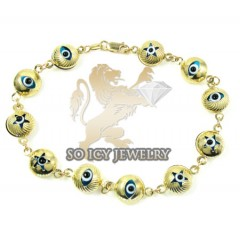 10k Yellow Gold Evil Eye Bracelet 7.25inch