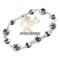 10k White Gold Evil Eye Bracelet 7.25inch