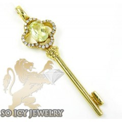 18k Yellow Gold Diamond Key Pendant 1.00ct