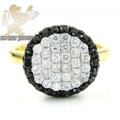 Ladies 18k Yellow Gold Black Diamond Circle Ring 0.98ct