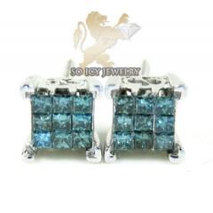 14k White Gold Blue Princess Diamond Earrings 0.45ct