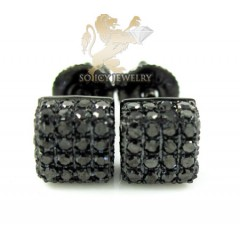 10k Black Gold Black Diamond 3d Ice Cube Earrings 0.35ct