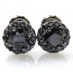 10k Black Gold Round Black Diamond Studs 1.10ct