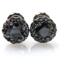 10k Black Gold Round Black Diamond Studs 1.10ct