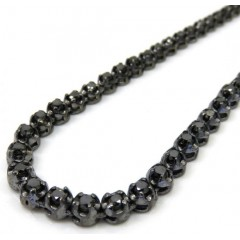 Black Sterling Silver Black Diamond Tennis Chain 13.07ct