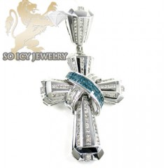 Mens 14k White Gold Diamond Fancy Cross 3.50ct