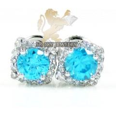 10k White Gold Blue Sapphire Box Cluster Diamond Earrings 1.00ct