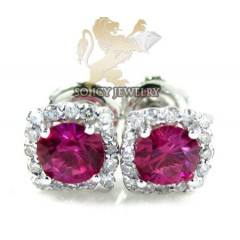 10k White Gold Ruby Sapphire Box Cluster Diamond Earrings 1.00ct