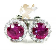 10k White Gold Ruby Sapphire Round Cluster Diamond Earrings 1.00ct