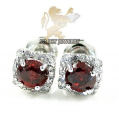 10k White Gold Red Sapphire Box Cluster Diamond Earrings 1.00ct