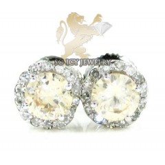 10k White Gold Champagne Sapphire Round Cluster Diamond Earrings 1.00ct