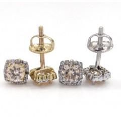 10k White Gold Champagne Sapphire Box Cluster Diamond Earrings 1.00ct