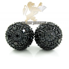 14k White Gold Black Diamond Circle Earrings 2.35ct