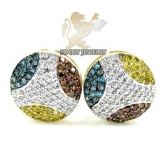 10k Yellow Gold Multi Color Diamond Earrings 0.54ct
