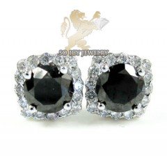 10k White Gold Box Cluster Black Diamond Earrings 1.00ct