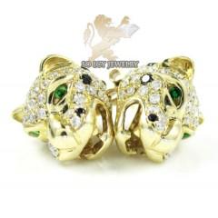 14k Yellow Gold Diamond Tiger Earrings 1.55ct