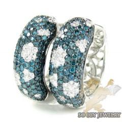 10k White Gold Fancy Blue Diamond Hoops 2.56ct