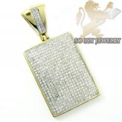 10k Yellow Gold Round Diamond Dog Tag Pendant 1.05ct