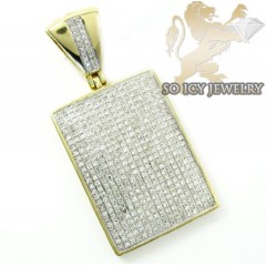 10k Yellow Gold Round Diamond Dog Tag Pendant 1.05ct