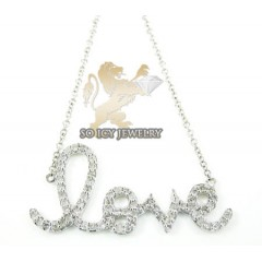 14k White Gold Diamond Love Pendant Chain  0.40ct