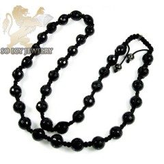 Black Onyx Shamballa Bead Chain 28inch 12mm
