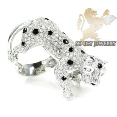 14k White Gold White Diamond Panther Ring 2.75ct