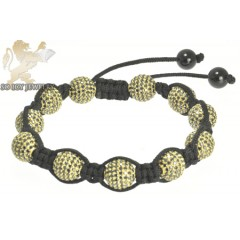Yellow Sterling Silver Black Cz Macramé Smooth Bead Rope Bracelet 11.00ct