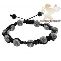 Black Sterling Silver Black Cz Macramé Smooth Bead Rope Bracelet 11.00ct