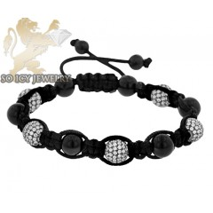 Black Sterling Silver White Cz Macramé Smooth Bead Rope Bracelet 5.00ct