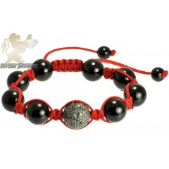 Black Sterling Silver Black Cz Macramé Bead Red Rope Bracelet 1.50ct
