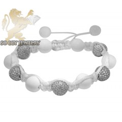 925 White Cz Macramé Smooth Bead Rope Bracelet 5.00ct