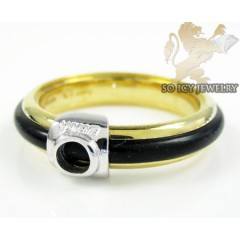 Mens Baraka 18k White & Yellow Gold Rubber Wedding Band