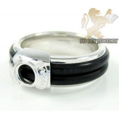 Mens Baraka 18k White Gold Rubber Wedding Band
