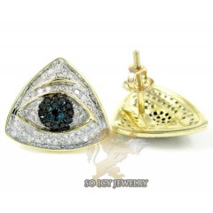 Unisex 10k Yellow Gold Black & Blue Diamond Evil Eye Earrings 0.55ct