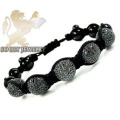 Black Sterling Silver Black Cz Macramé Smooth Bead Rope Bracelet 7.50ct