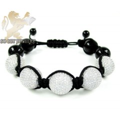 Black Sterling Silver White Cz Macramé Smooth Bead Rope Bracelet 10.00ct