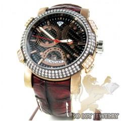 Mens Aqua Master Black & Rose Steel Diamond Automatic Titanic Watch 3.50ct