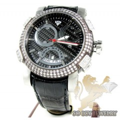Mens Aqua Master Black & White Steel Diamond Automatic Titanic Watch 3.50ct