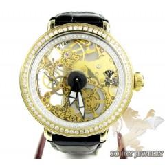 Mens Aqua Master Yellow Steel Automatic 2 Row Diamond Watch 3.50ct