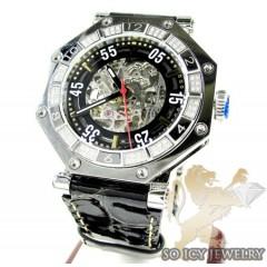 Mens Aqua Mater White Steel Automatic Diamond Octagon Watch 1.00ct