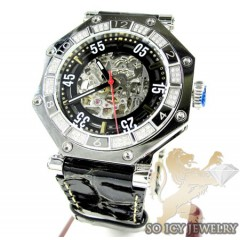 Mens aqua mater white steel automatic diamond octagon watch 1.00ct