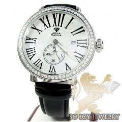 Mens Aqua Master White Stainless Steel 1 Row Diamond Mechanical Watch 2.25ct
