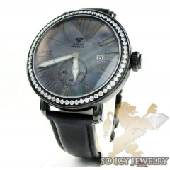 Mens Aqua Master Black Stainless Steel 1 Row Diamond Mechanical Watch 2.25ct