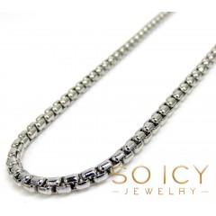 14k White Gold Box Link Chain 16-22 Inch 2mm
