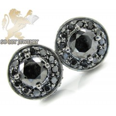 14k Black Gold Black Diamond Cluster Earrings 3.50ct