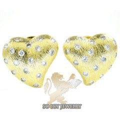 14k Yellow Gold Diamond Heart Earrings 0.77ct