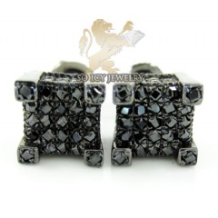 .925 Black Sterling Silver Black Diamond Earrings 0.35ct