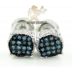 .925 White Sterling Silver Blue Diamond Earrings 0.45ct