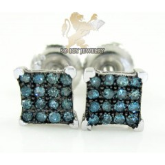 .925 White Sterling Silver Blue Diamond Earrings 0.20ct